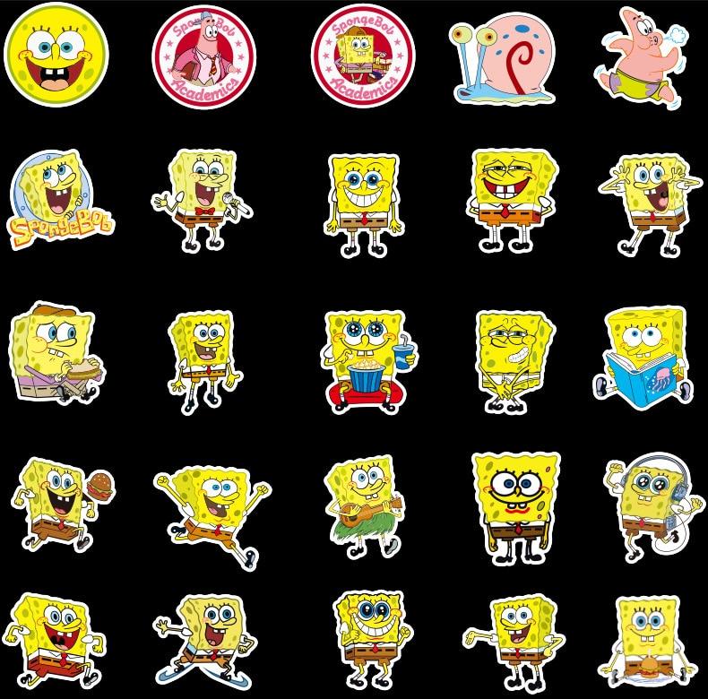 50 Pack SpongeBob Stickers Cartoon Graffiti Pegatinas for Motorcycle Notebook Laptop Luggage Bicycle Skateboard