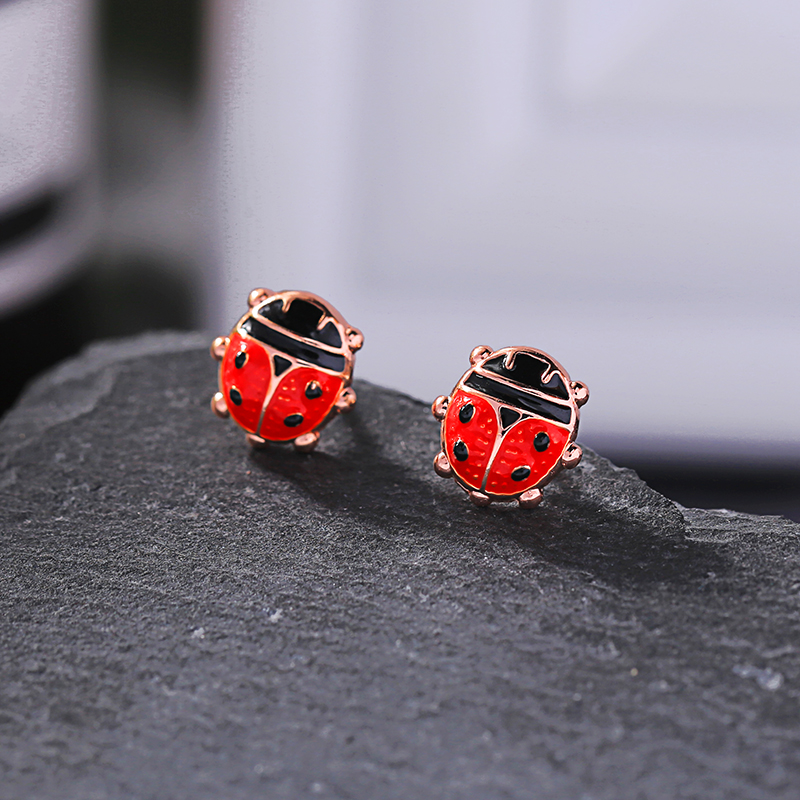 Red Enamel Insects Stud Earrings Ladybug Mini Children Accessory