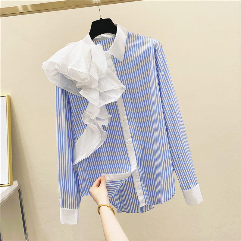 Blue Vertical Striped Ruffle Irregular Stitching Shirt Women's Tops and Blouses 2020 Spring Autumn Long Sleeve Retro Blouse Top