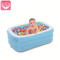 Hot selling Inflatable Three layer Rectangular Swimming Pool Children's Swimming Paddling Pool Heatstroke Cooling Pool