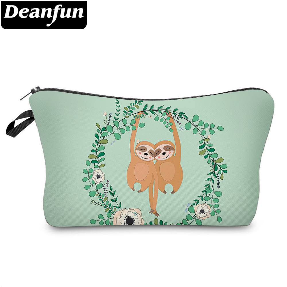 Deanfun Cute Double Sloths Printed Small Cosmetic Bag Elegant Adorable Makeup Travelling Bag Purse Bag For Girls Gift 51825