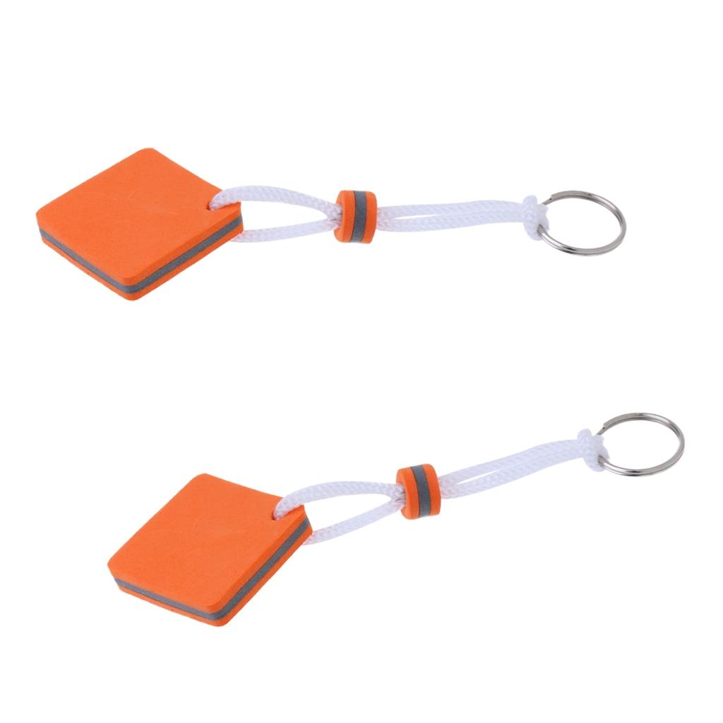 2 Pieces Boating Fisherman Floating Key Chain Marine Keychain Shoreline Sailboat -Square Shaped Orange