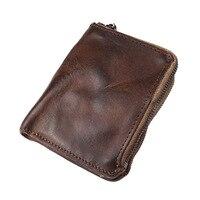 Genuine Leather Coin Purse Men Woman Vintage Small Mini Zipper Wallets Case Storage Bag Card Holder Pocket Male Female