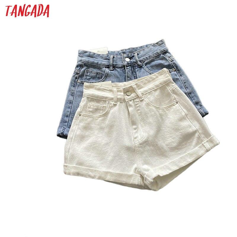 Tangada Women Elegant Summer White Denim Shorts Button Pockets Female Retro Basic Casual Jeans Shorts Pantalones ASF57