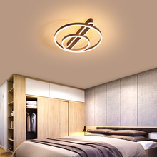 Brown/Gold Modern led ceiling lights For study Bedroom lamp Round Aluminum light suspension luminaire