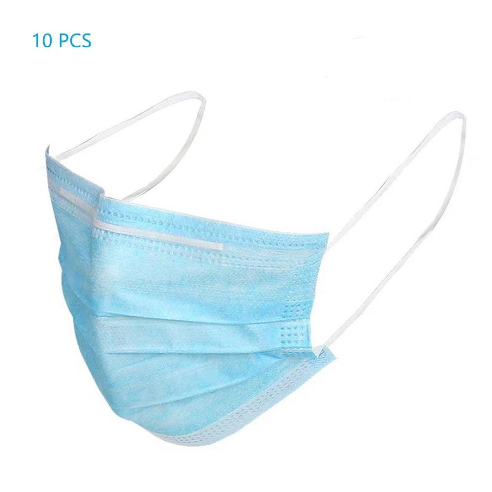 Variation #14 of 10/50pcs men women adult cotton anti dust mask activated filter 3 layers mouth mask muffle bacteria proof flu face masks