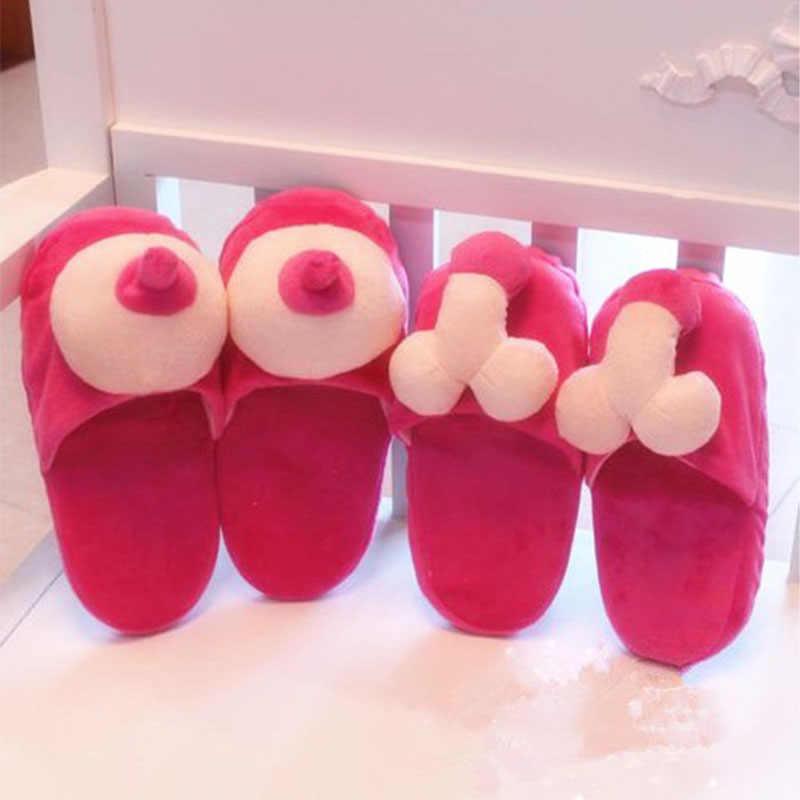 Sıcak satış kışlık terlik kadınlar yaratıcı eğlenceli Penis ev terlik sıcak bahar komik kadın ayakkabı Unicornio ayakkabı kadın