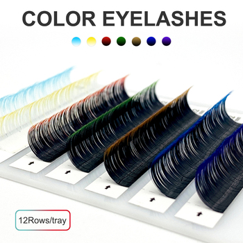 NATUHANA 12Rows Ombre Colored Lashes White False Eyelashes Individual Faux Mink Gradient Color Eyelash Extension for Makeup Tool 1