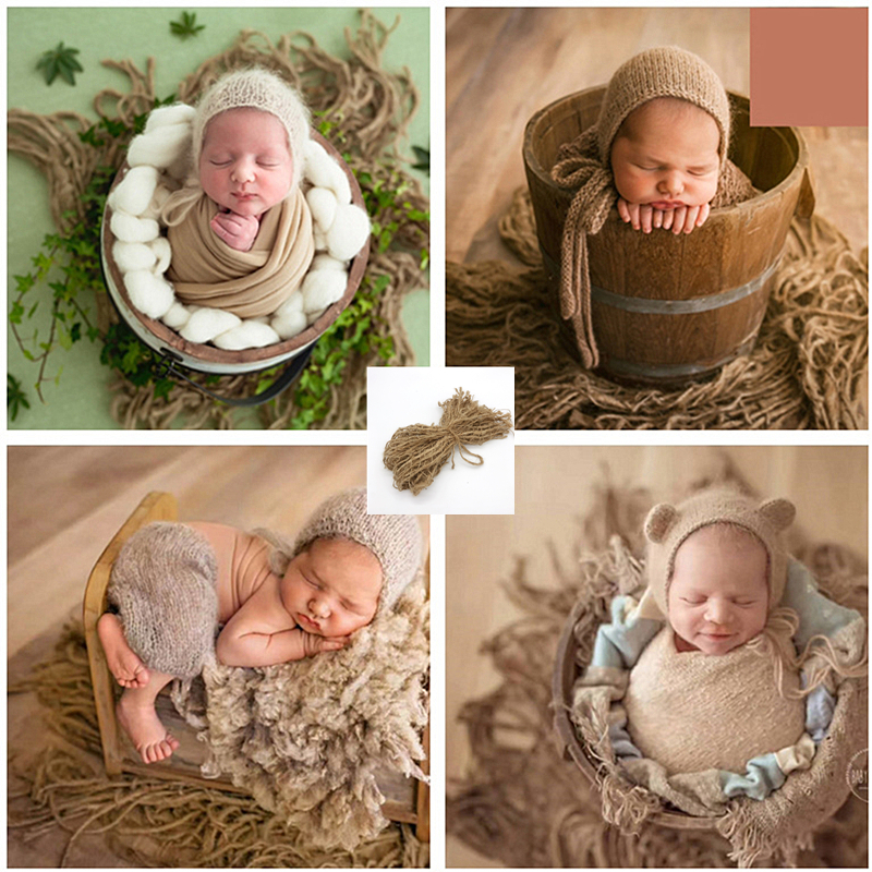 Newborn Photography Props Accessories Baby Shooting Jute Backdrop Blanket Baby Photo Props Chunky Burlap Layer Net Blanket