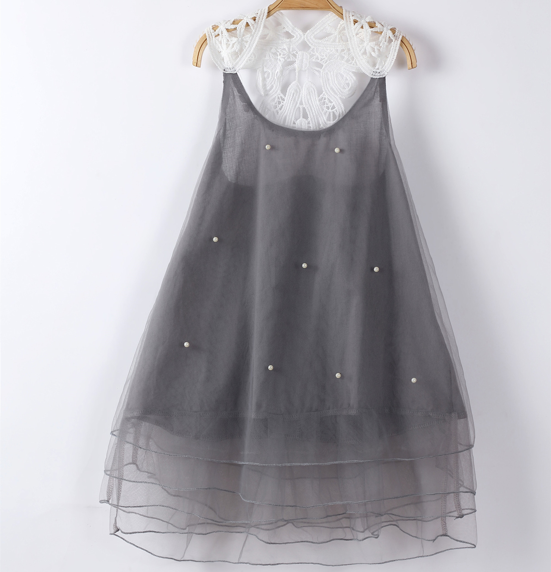 2020 New Summer Pearl Girls Lace Dress Gauze Princess Dress Baby Girls Clothes Wedding Flower Girls Lace Dress 1-8Y Clothes