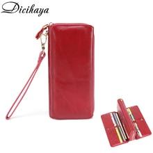 Dicihaya carteiras femininas de alta qualidade duas vezes carteira de couro genuíno com zíper bolsa embreagem portefeuille bolsas carteira feminina