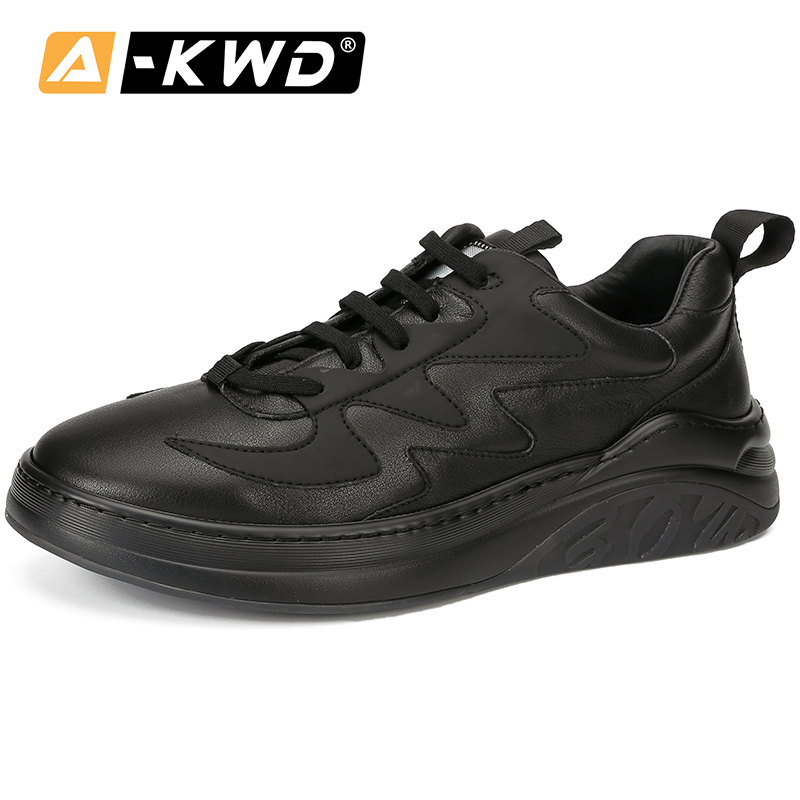 Casual Black Mens Leather Shoes Basket Homme Fashion Wear Resistent Sneakers Mens Autumn Breathable Man Shoes Leather Genuine 44