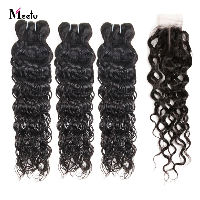 Brazilian Water Wave Bundles With Closure Affordable Bundles With Closure 100% Human Hair Weave With Closure Meetu Non Remy