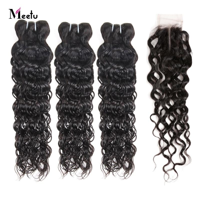 Brazilian Water Wave Bundles With Closure Affordable Bundles With Closure 100% Human Hair Weave With Closure Meetu Non Remy