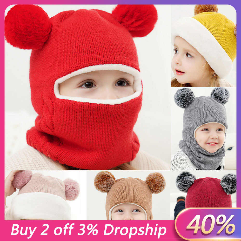 Kid Baby Boy Girl Hooded scarf Caps Hat Winter Warm Knit Flap Cap Scarf baby winter hat baby girl hat photography props modis