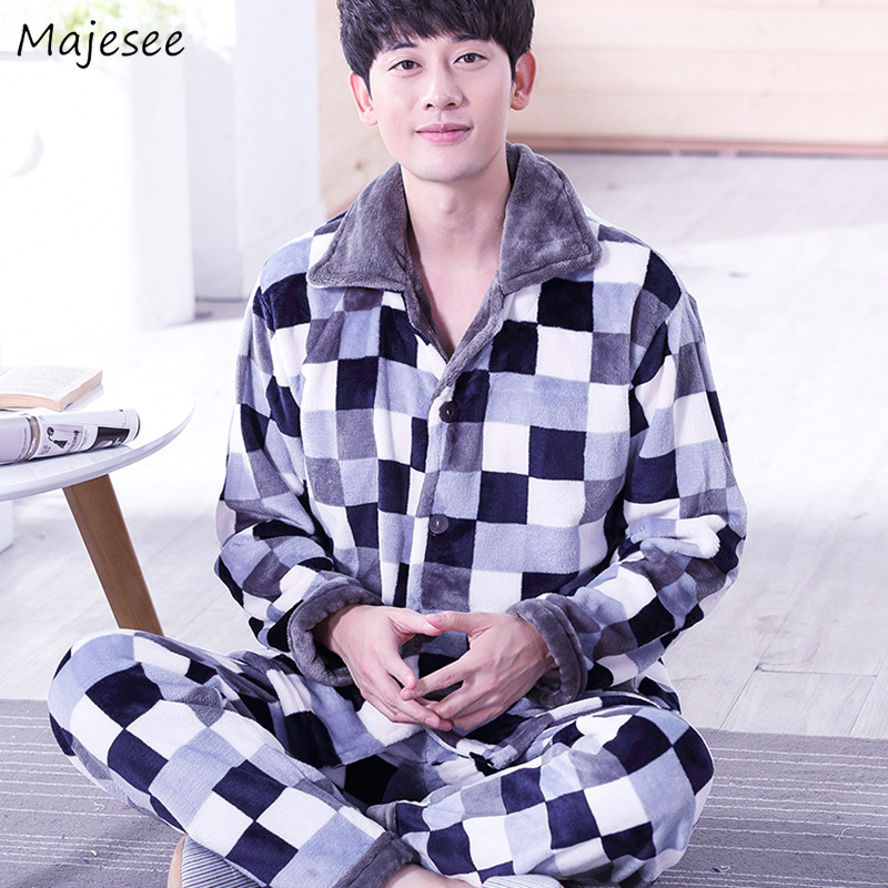 Pajama Sets Men Winter Thicker Comfortable Plus Size Pajamas Mens Flannel Korean Style New Fashion Males Home Clothing Casual