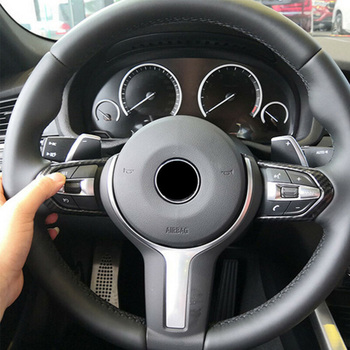 Carbon Fiber Steering Wheel trim Cover For BMW M3 M4 M5 X5M Interior 1 Pair image