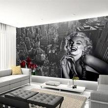 Moderno simples preto e branco edifício marilyn monroe foto papel de parede sala estar restaurante shopping decoração mural 3d fresco