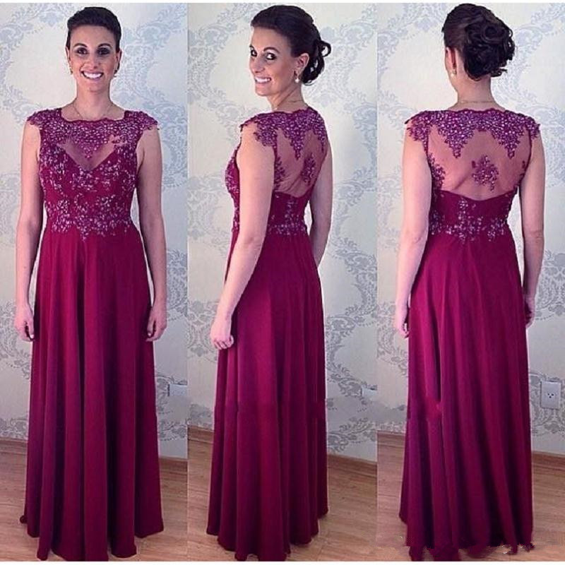 Grape Sheer Mother Of The Bride Dresses Floor Length 2020 Farsali Robe De Soiree Women Groom Evening Gown Vestido Da Noiva