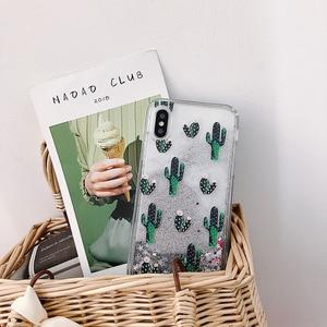 Image 2 - الأخضر بوتاني الصبار نمط السائل الرمال المتحركة جراب هاتف آيفون 11 مجموعة برو ماكس x xr xs 8 7 6 6s زائد silversand شفافة