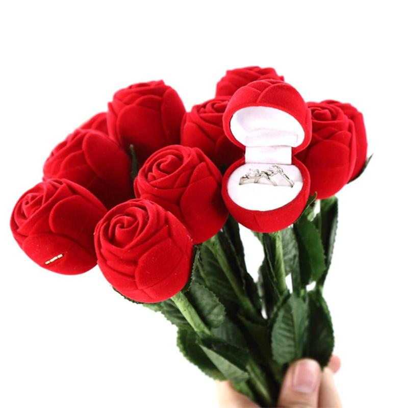 Foldable Rose Ring Box For Women 2019 Creative Jewel Storage Paper Case Small Gift Box For Rings For Valentine's Day Gift
