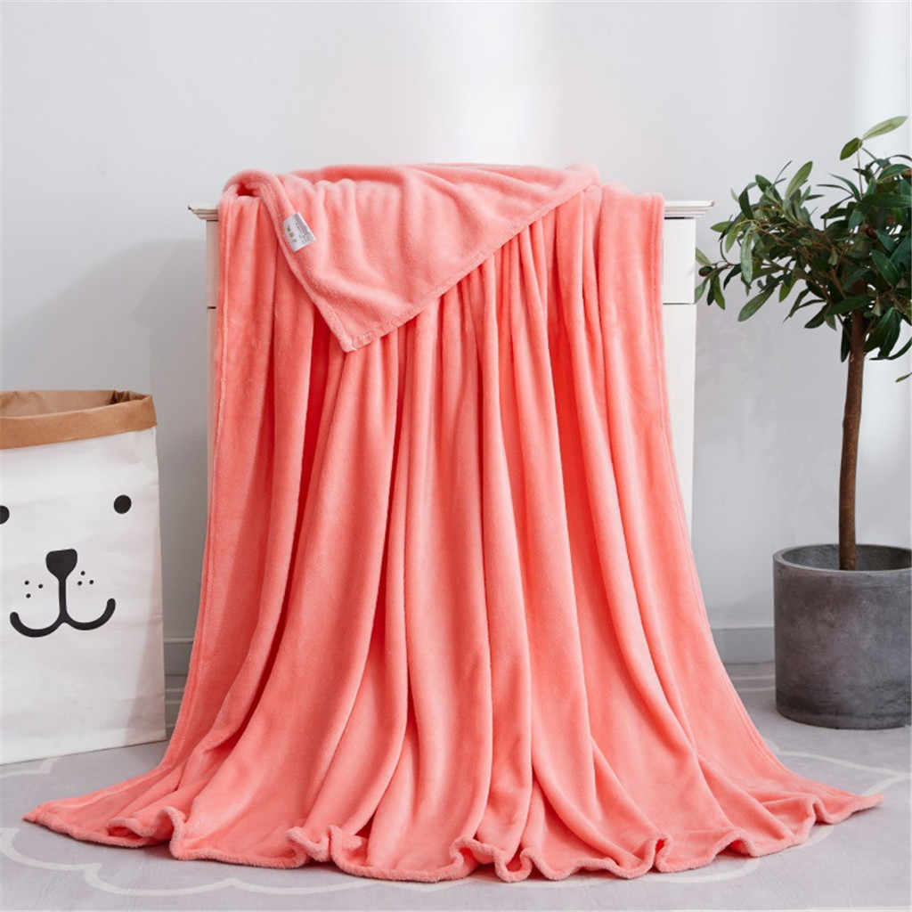 1pc flanela cobertor sólido macio sala de estar quarto ar condicionado cobertores cama para sofá cama capa dormir joga