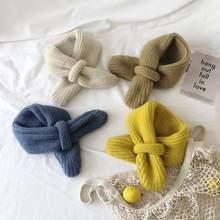 Estilo coreano novo inverno crianças crianças de malha lã neckerchief doce cor quente cruz crianças cachecóis