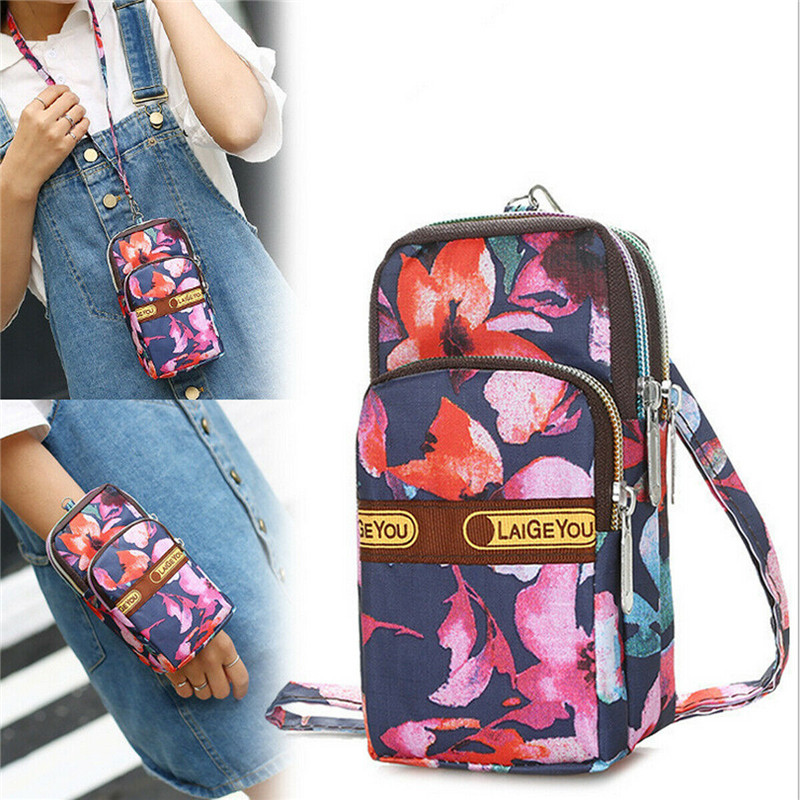 Ladies Floral Print Phone Bags Fashion Mini Cross-Body Shoulder Strap Wallets Women Running Sports Arm Bags Single Shoulder Bags