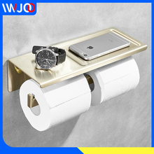 все цены на Stainless Steel Toilet Paper Holder Gold with Shelf Bathroom Paper Towel Holder Wall Mounted Double Roll Paper Holder Rack онлайн