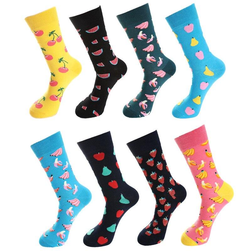 Tide Socks Fruit Cherry Watermelon Banana Pear Cotton Mid Tube Patchwork Color Harajuku Fun Socks