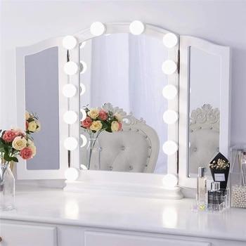 LED 12V Makeup Mirror Light Bulb Hollywood Vanity Lights Stepless Dimmable Wall Lamp 6 10 14Bulbs Kit for Dressing Table led makeup vanity light 2 6 10 14bulbs kit led 12v hollywood mirror light bulb led 8w 12w 16w 20w dimmer wall lamp for bathroom