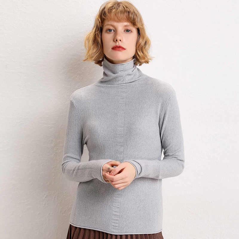2019 herfst winter nieuwe wollen trui high-hals trui vrouwen lange mouwen effen kleur base coat hoge kraag korte out trui
