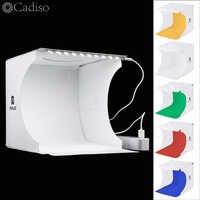 Cadiso Folding Soft Box 20cm LED Mini Photography Studio Diffuse Lightbox Photo with Black White Background for Camera Phone