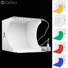Cadiso Vouwen Zachte Doos 20cm LED Mini Fotografie Studio Diffuse Lightbox Foto met Zwart Wit Achtergrond voor Camera Telefoon