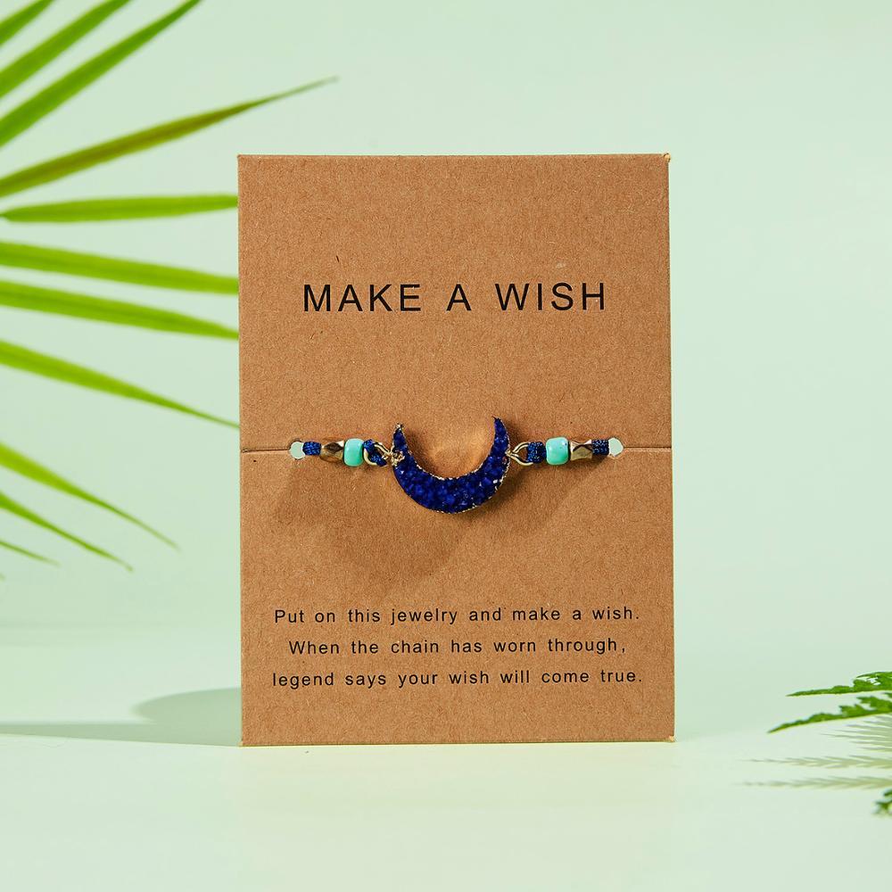 Натуральный камень Новая 7 цветная подвеска тканый браслет с картой Загадай желание регулируемый браслет из веревки для женщин очаровательные подарочные украшения - Окраска металла: 12