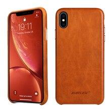 Jisoncase cuir étui pour iPhone X couverture en cuir véritable de luxe mince anti chocs couverture arrière pour iPhone X Capa acheter un obtenir deux