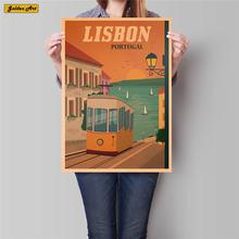 Póster de viaje de ciudad de Lisboa, pintura de paisaje antiguo, Papel kraft clásico, pintado a mano, adhesivo artístico para pared, decoración del hogar, 42x30cm