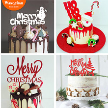 5pc/bag New Arrivals Snowman Tree Merry Christmas Theme Acrylic Cake Topper Xmas Decorating Happy Year Party Supplies