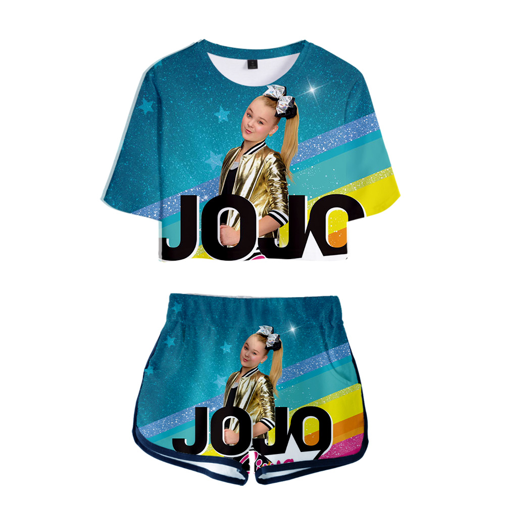 Casual 3D JOJO SIWA Exposed Navel T-Shirt +Shorts Popular Girls Two-Piece Sets New Summer Girls 3D JOJO SIWA Two-Piece Clothing