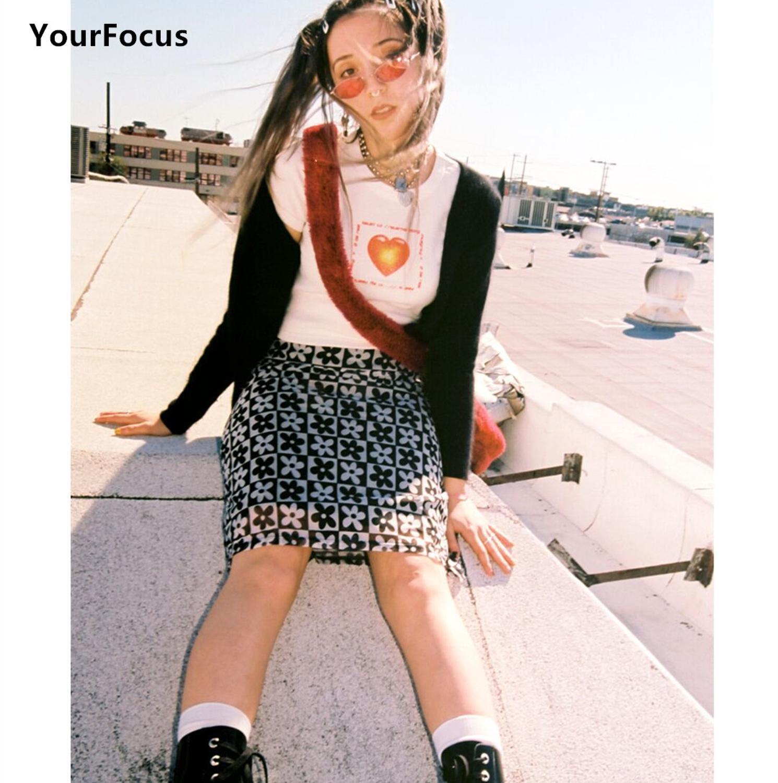 Винтажная юбка в стиле 90-х y2k с маргаритками, облегающая прямая юбка до колена