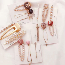 3pcs Pearl Metal Hair clips Geometric Hollow Shape Hairpins Shinny accessories Ornament hair clip set