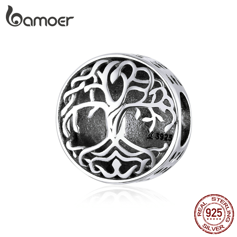 Bamoer 925 Sterling Silver Tree Of Life Charm For Original Silver Bracelet Openwork Vintage Beads For Jewelry Making SCC1457