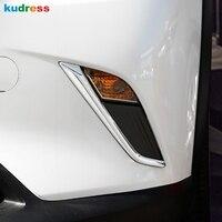 Für Mazda CX 3 CX3 2015 2018 ABS Chrome Vorne Unten Kopf Nebel Licht Foglight Lampe Augenlid Augenbraue Abdeckung Trim zubehör 2 stücke-in Chrom-Styling aus Kraftfahrzeuge und Motorräder bei
