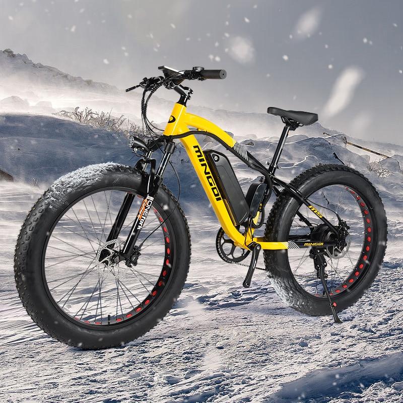 Neue aluminium legierung rahmen 24 geschwindigkeit hydraulische bremse strand E-bike fett reifen elektrische bike Stoßdämpfer Fahrrad 36V 500W Schnee Bike