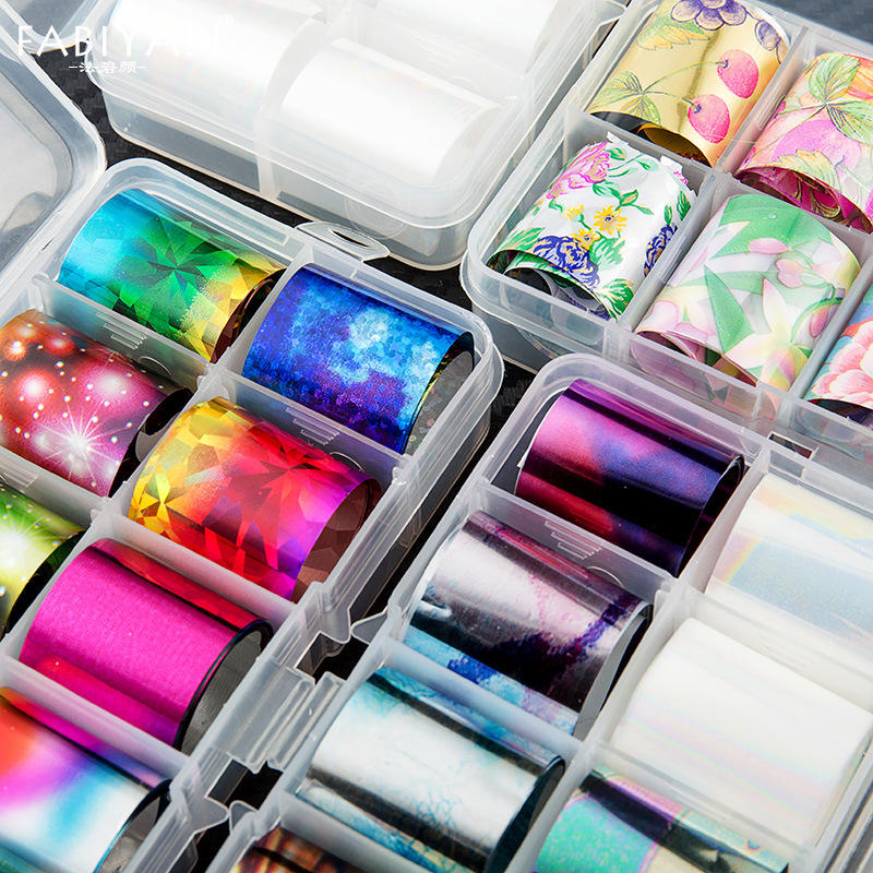 Manufacturers Direct Selling Nail Ornament Sequin Nail Sticker Star Color Laser Nail Sticker Laser Transfer Paper 10 PCs