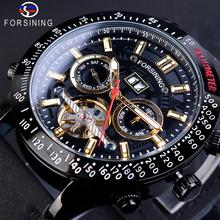 Forsining Fashion Mechanical Men Watches Automatic Waterproof Clock Genuine Leather Band Multifunction Tourbillon Dial Man Watch forsining men watch self winding mechanical multifunction dial wrist watches mens dress leather band casaul clock 2017 new box