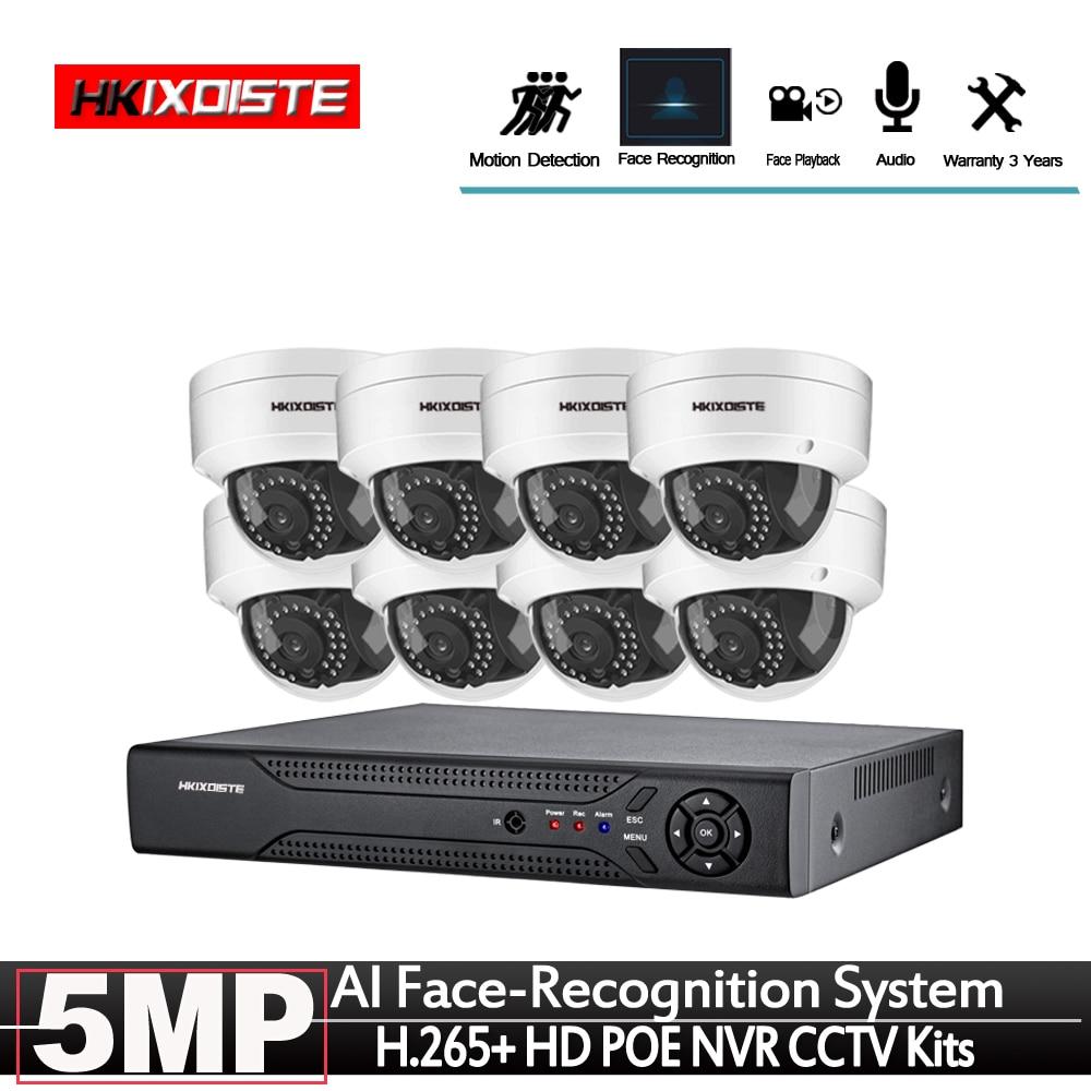HD CCTV 8CH 5MP vigilancia DVR NVR POE de 8 canales Kits de detección facial HDMI CCTV seguridad 4G WIFI NVR grabadora de Audio y vídeo facial Micro cámara de vídeo CCTV inalámbrica para el hogar, Mini vigilancia de seguridad con Wifi, cámara IP, cámara para teléfono, cámara ipcámara con Sensor de movimiento Wai Fi