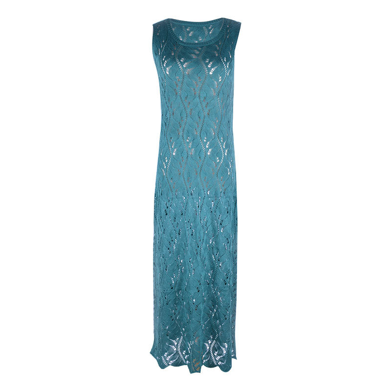Women Lace Up O Neck Sleeveless Crochet Swimsuit Cover Up Dress in Cover Ups from Sports Entertainment