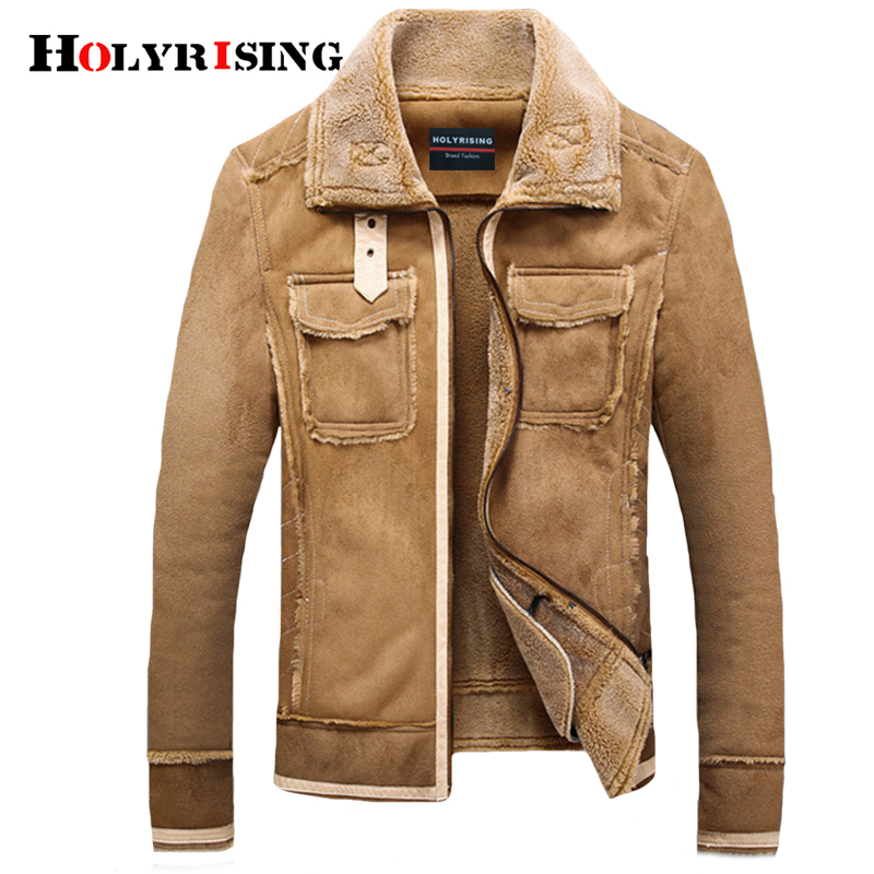 Holyrising Men Fur Lamb Jackets Vintage Pockets Coats Overcoat Zipper Male Woolen Coats Soft Leisure Motorcycle Jacket 18948-5