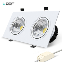 купить [DBF]Super Bright Recessed LED Dimmable 2 head Square Downlight COB 10W 14W 18W 24w LED Spot light   Ceiling Lamp AC 110V 220V онлайн
